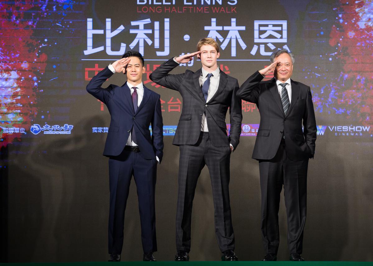 圖說:李淳(左起)、喬歐文和李安一起走紅毯,帥氣破表。