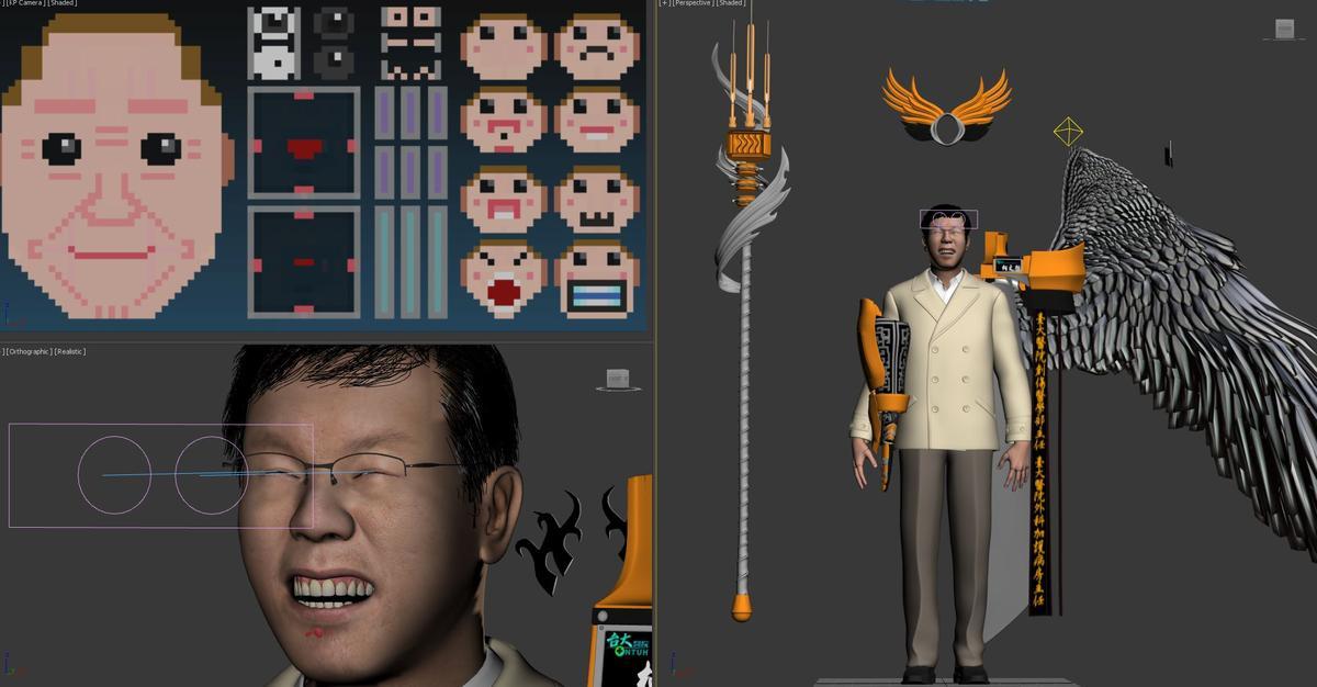 2D到3D的建模過程,左上方是人臉控制器,可以讓人有不同的表情。要先從網路去找本尊的不同表情,再照著照片畫,包括生氣、嘟嘴跟微笑…岳漢說「總不能不笑的時候像柯P,但笑的時候像馬英九吧」。