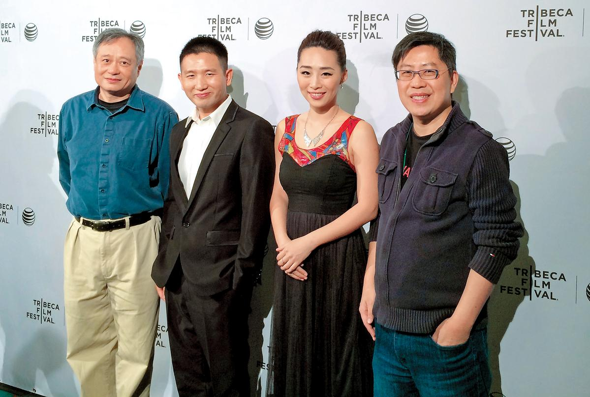 趙德胤(左二)的電影《冰毒》2014年在紐約翠貝卡影展放映,與女主角吳可熙(右二)、製作黃茂昌(右)共同出席,國際名導李安(左)特地來站台。