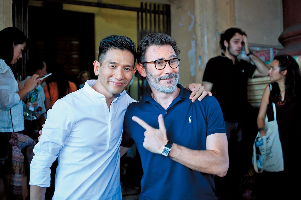 趙德胤(左)的《再見瓦城》在緬甸放映,《大藝術家》導演米歇爾哈札納維西(Michel Hazahavicius)特別前來觀賞。