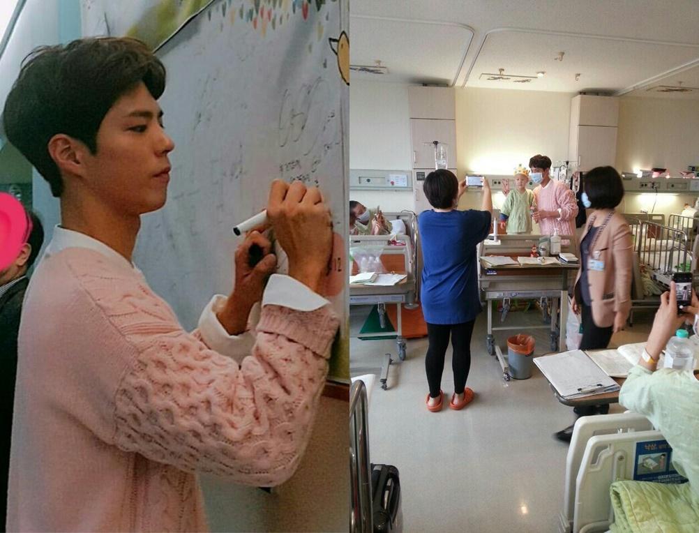 朴寶劍在醫院留下簽名。