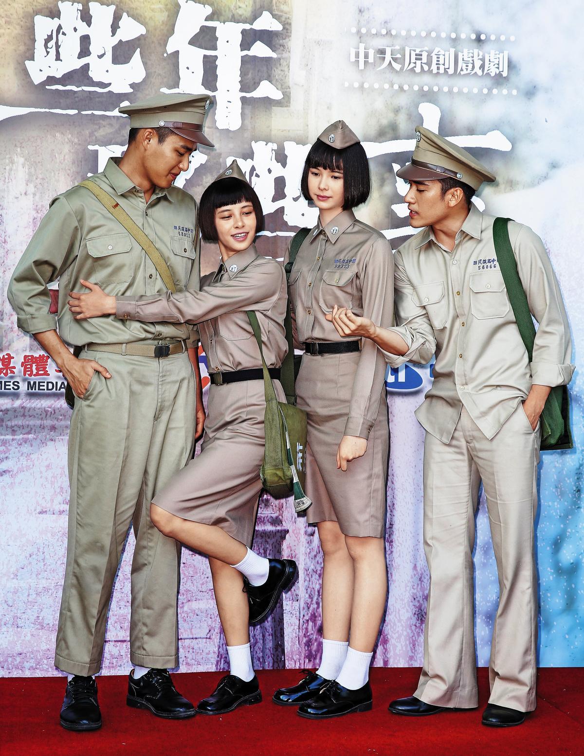 宇珊(右二)、沈建宏(右一)出席新戲宣傳,他們兩個比較紅,但照片看來很沒戲分,焦點都讓給了金凱德(左二)及安俊朋(左一)。
