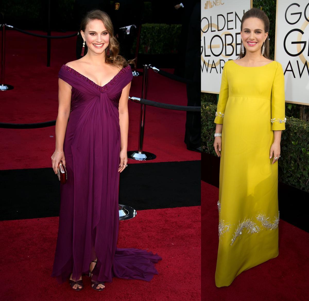 娜塔莉波曼今年再度挺孕肚走紅毯,芥末黃禮服評價兩極,今年不如2011年的紫色禮服。(東方IC)