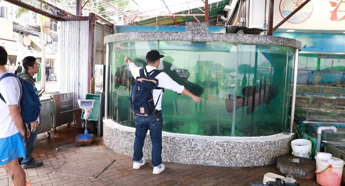 西貢海鮮街上的地標:超大水族箱。