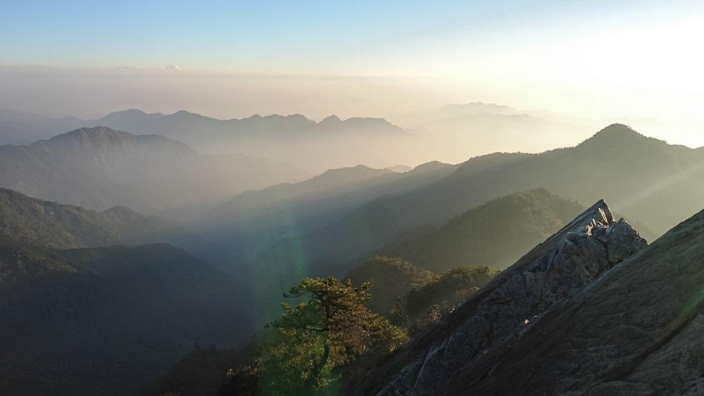 雖然帶點霧氣,陽光照射下超美。