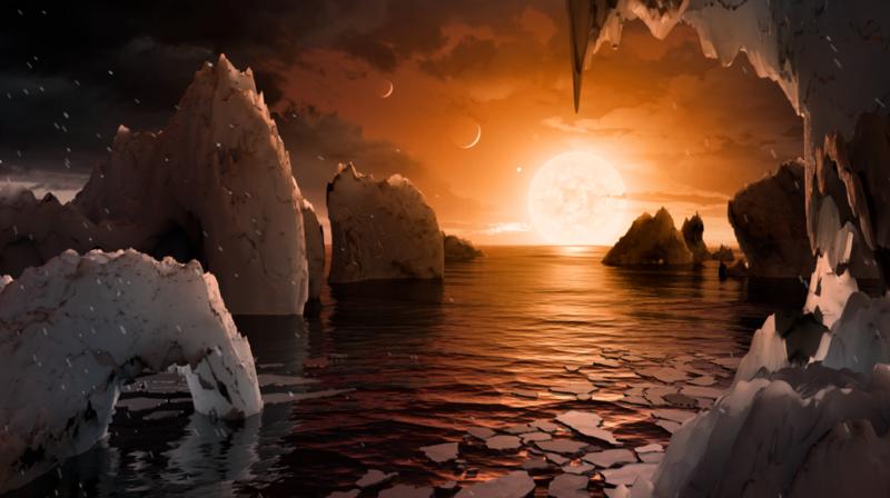 藝術家描摹出Trappis-1系其中一顆行星的表面景象。