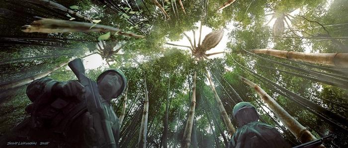 骷髏島上的竹林,隱藏了高腳母蜘蛛,讓探險隊陷入了危機。