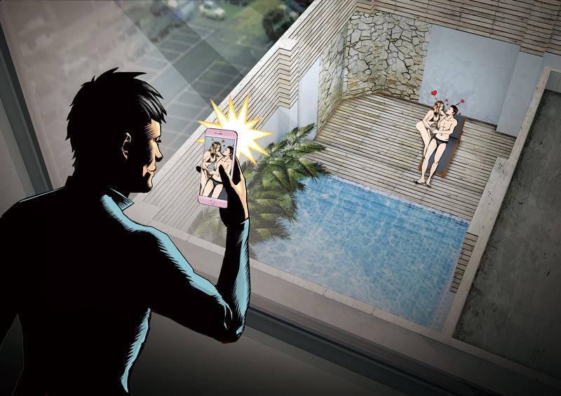 本刊接獲爆料,一對男女在摩鐵的戶外泳池做愛,竟遭隔壁大樓不明人士偷拍,且將影片透過社群軟體散布。(示意畫面)