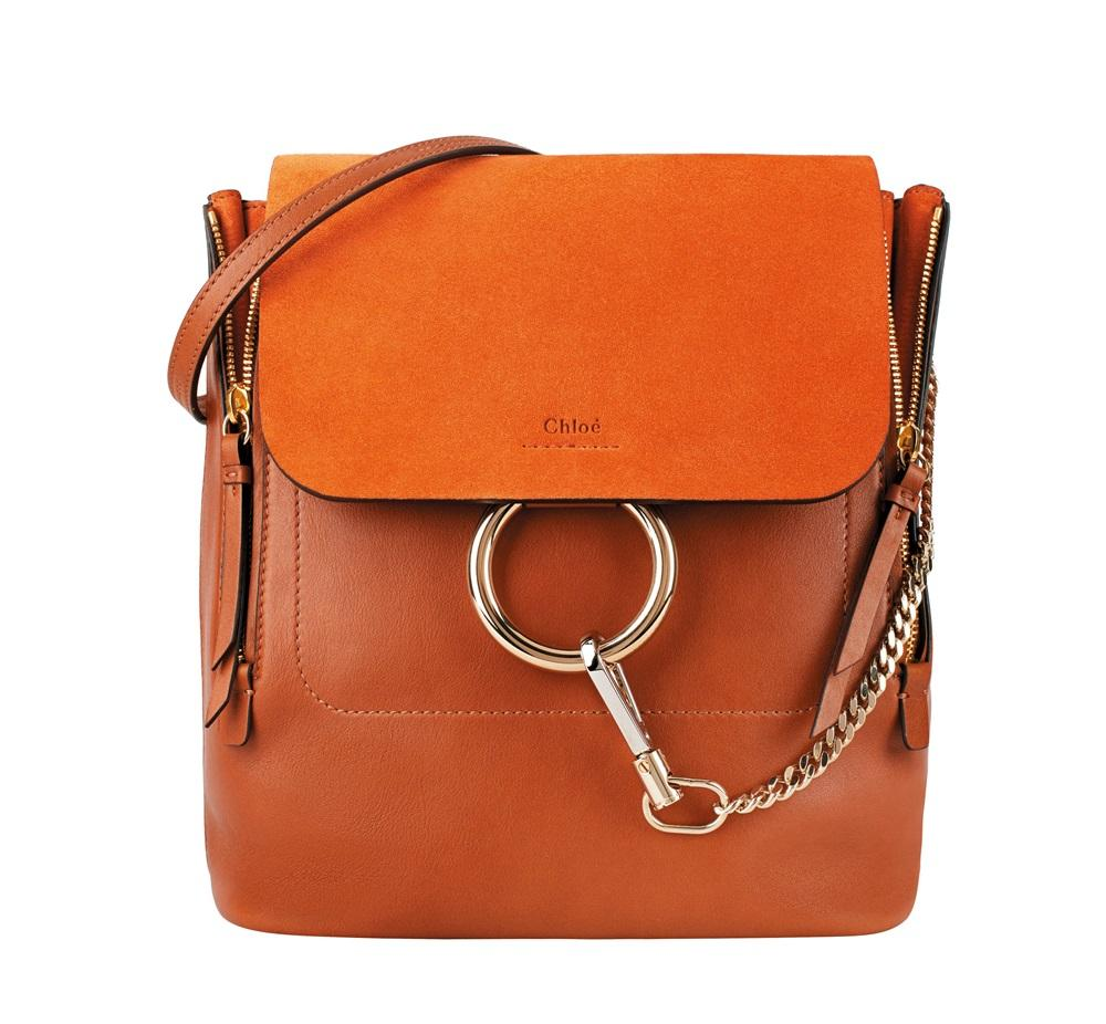 Faye棕褐色麂皮掀蓋平滑小牛皮中型後揹包。NT$63,100