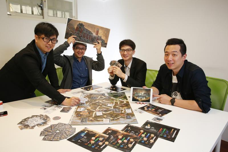 《台北大空襲》製作團隊,左至右為製作人張少濂、繪師諾米、遊戲機制設計師鄧傑民、視覺設計賴柏燁。