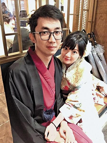 優格姐姐和老公前往日本旅遊,曬穿和服恩愛照。(翻攝自優格姐姐臉書)