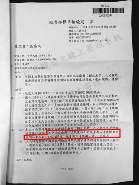 陳家遭遇的不幸讓監察院關注,並針對兒童用床邊護欄發函要求標檢局進行查察。(律師提供)