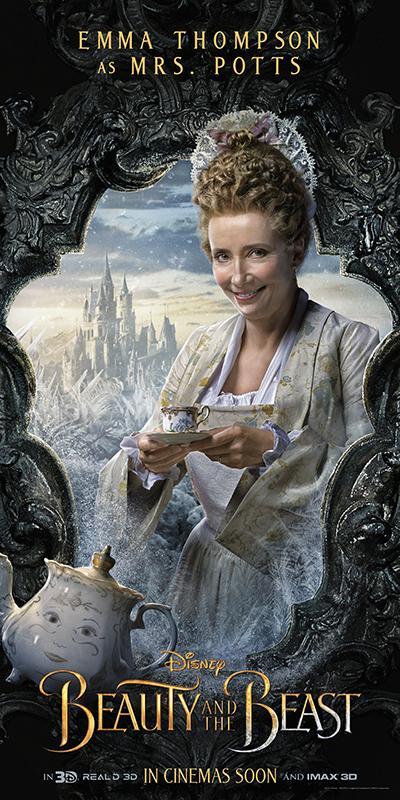 艾瑪湯普遜在真人版《美女與野獸》中飾演溫柔的茶壺太太,只是在最後幾分鐘才變回人形,她多半時間都得靠聲線賣力出演。