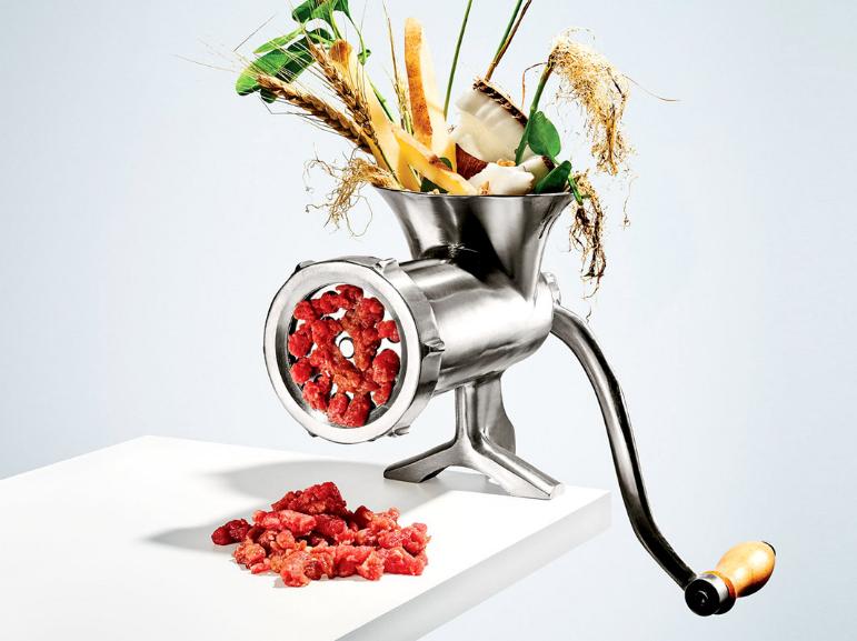 加州矽谷新創公司Impossible Food的人造肉漢堡,即將邁入量產階段。(圖片截自Impossible Food官網)