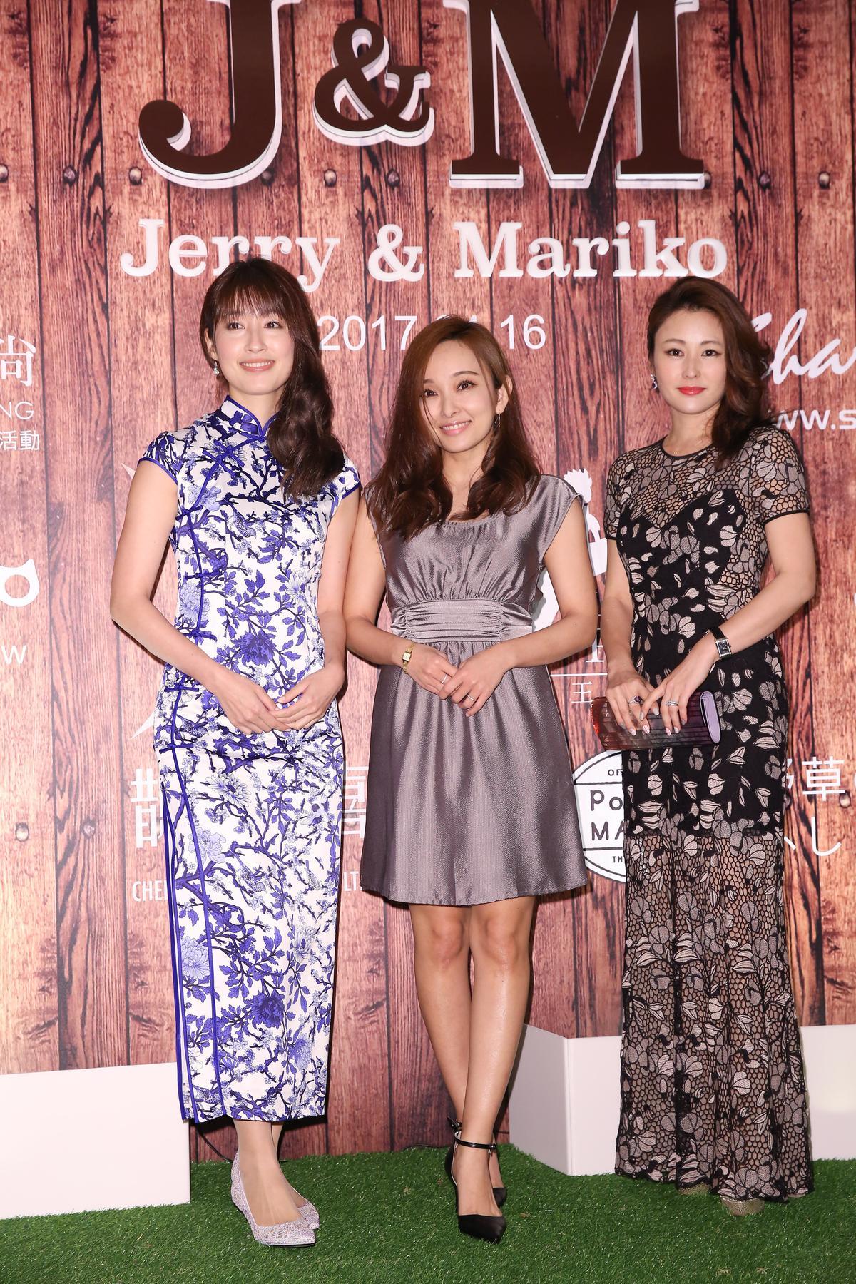 田中千繪(左起)、愛紗、麻衣三人出席婚禮。