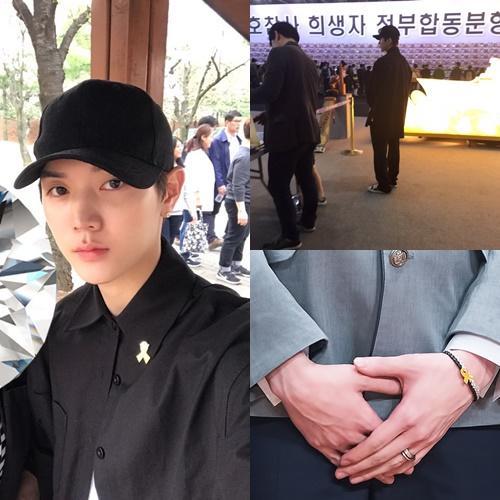 NU'EST成員REN崔珉起被目擊出現在世越號事件悼念場合,在節目《Produce 101》第2季也發現他戴著黃絲帶的手鍊。(網路圖片)