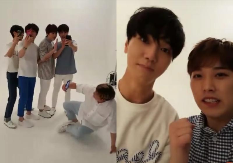Super Junior藝聲(左起)、希澈、圭賢、藝聲、神童和晟敏(右一)在拍攝廣告現場各自開ig直播,形成有趣的畫面。(網路圖片)