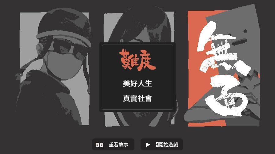 遊戲有三個角色可以選擇,並分成「美好人生」「真實社會」兩種難度(擷取自遊戲畫面)