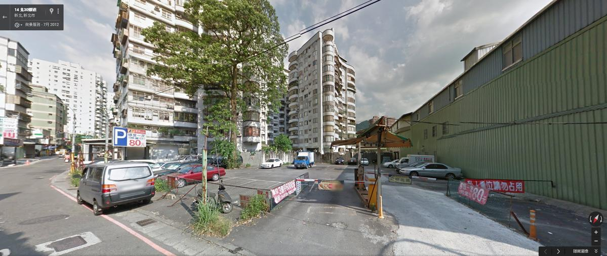 可以從Google地圖看到這些建物原址的現況;有些已經變成了停車場(擷取自Google地圖)
