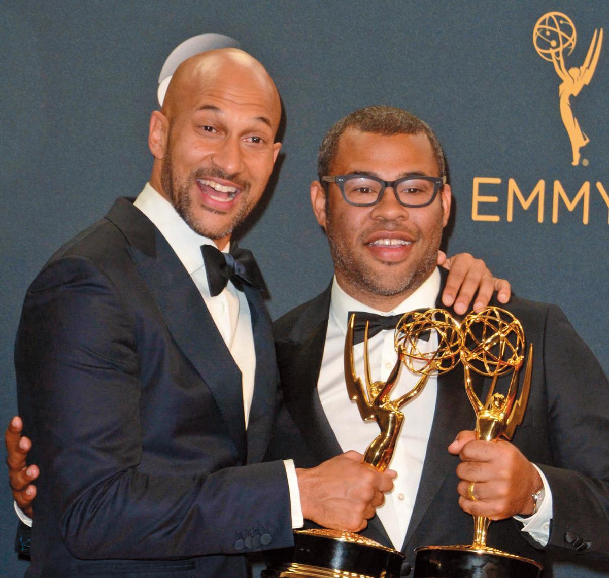 喬登皮爾(右)和搭檔基根麥可奇(左,Keegan-Michael Key)去年以喜劇節目《阿奇與阿皮》贏得艾美獎最佳綜藝小品。(翻攝自u92slc.com)