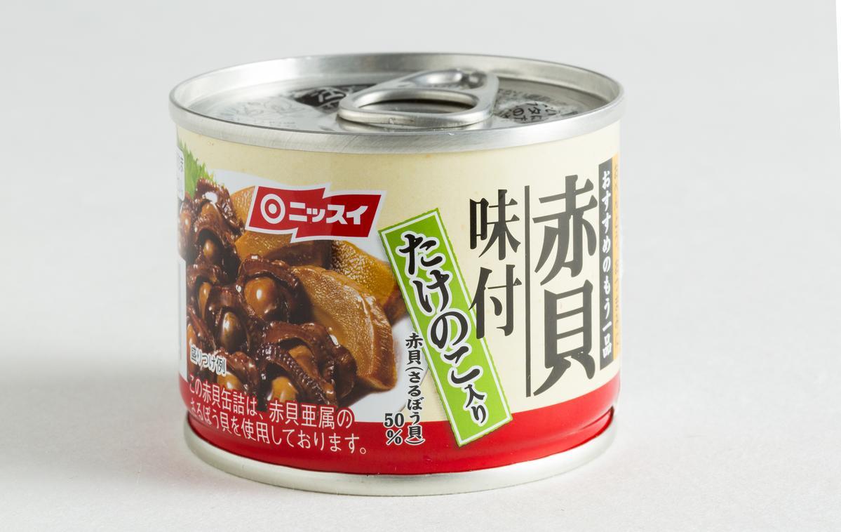 日水味付赤貝竹筍罐頭。(微風超市,80元/罐)