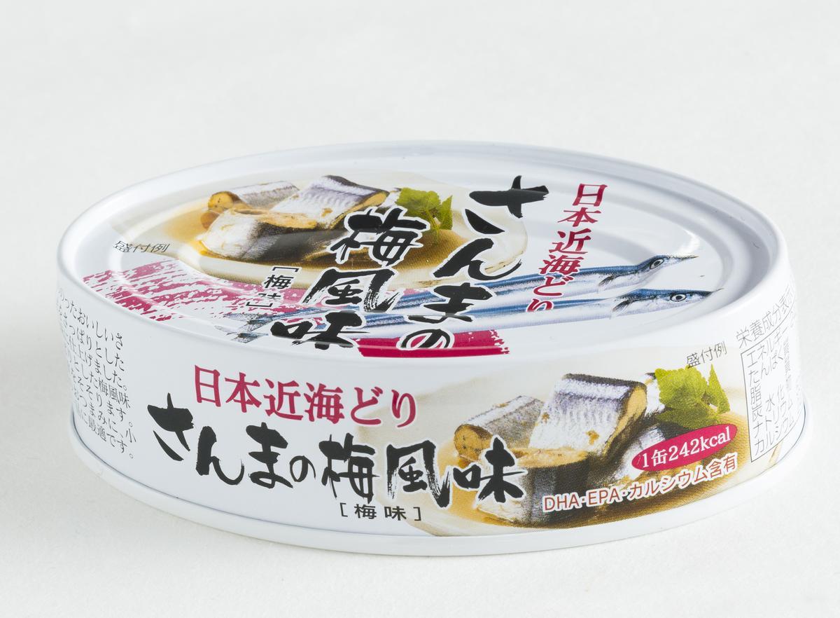 K&K日本近海梅子秋刀魚罐頭。(微風超市,75元/罐)