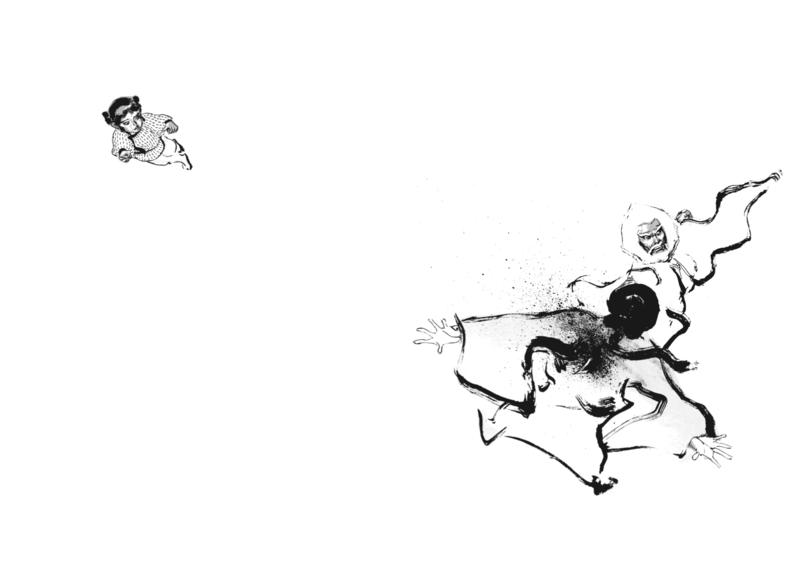 《阿鼻劍》中,史飛虹一刀刺入于景,巨幅的留白呈現出驚人氣勢。