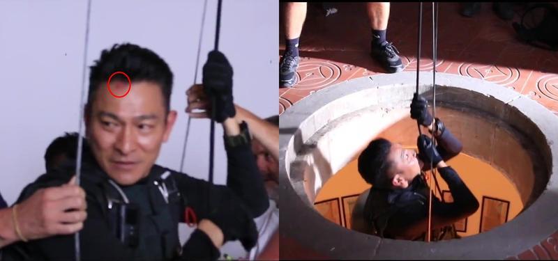 劉德華一場懸吊半空的戲,不慎撞到地洞邊緣,使得額頭掛彩。