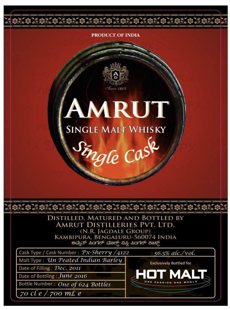 此為這幾年竄紅的印度威士忌「雅沐特」原廠為豪邁國際客製裝瓶的酒標。(豪邁國際提供)