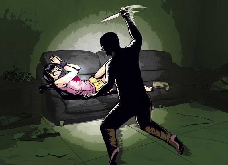崔曉菁的手、腳、嘴被膠帶封住,遭凶手持利刃刺死。(模擬示意圖)