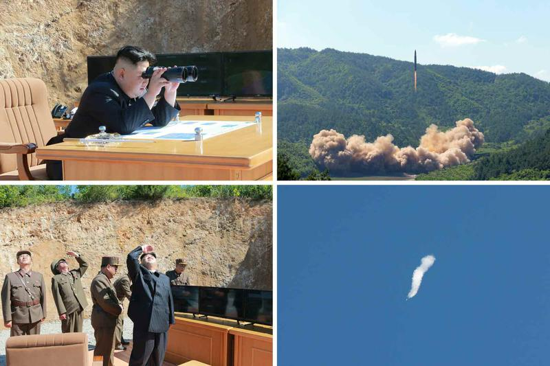 北韓聲稱成功試射了火星14洲際彈道飛彈,這是朝鮮國防科學院新開發的洲際飛彈,金正恩也在現場觀看。(東方IC)