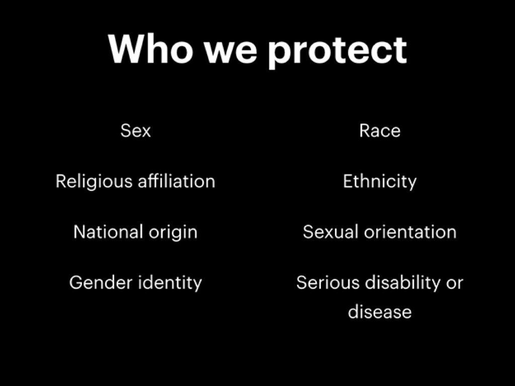 我們(臉書)保護的類別:性別、種族、宗教派別、族裔、出生國家、性傾向、性別認同、嚴重的殘疾。
