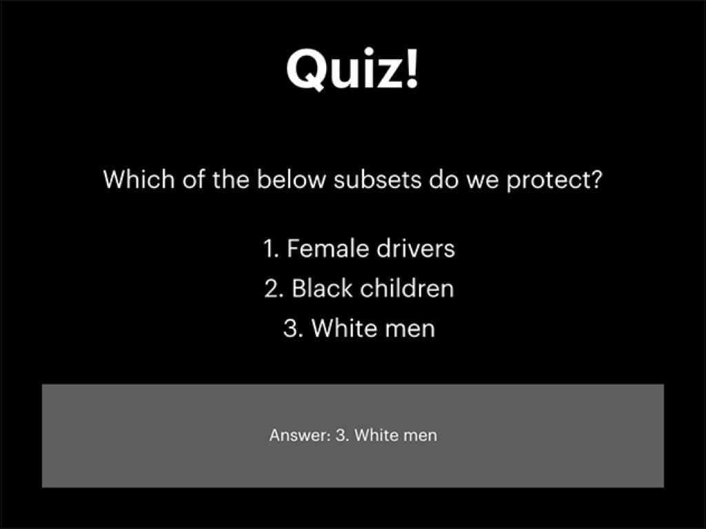 臉書內部訓練的測驗題:下列子群組何者應保護不受仇恨言論攻擊?1. 女性駕駛。2. 黑人兒童。3. 白種男性。答案為(3)