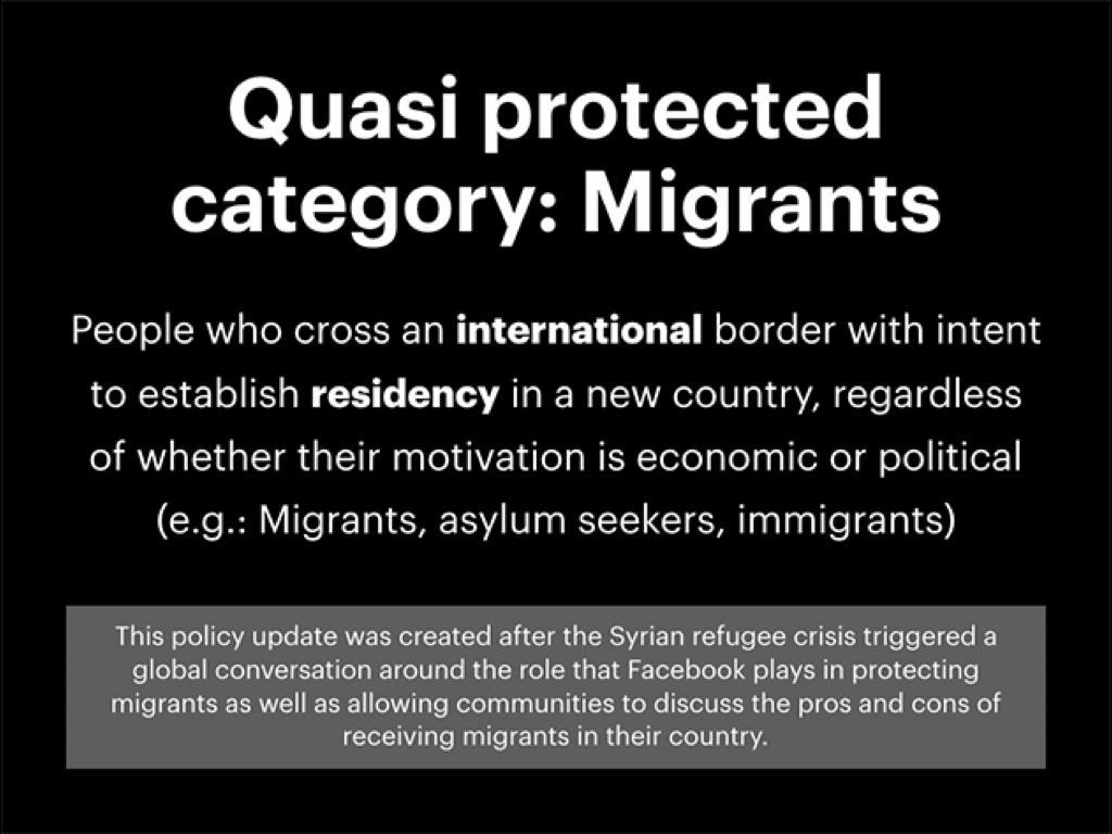 「移民」這一群體在敘利亞內戰之後被臉書增列為「類保護類型」(QPC)。