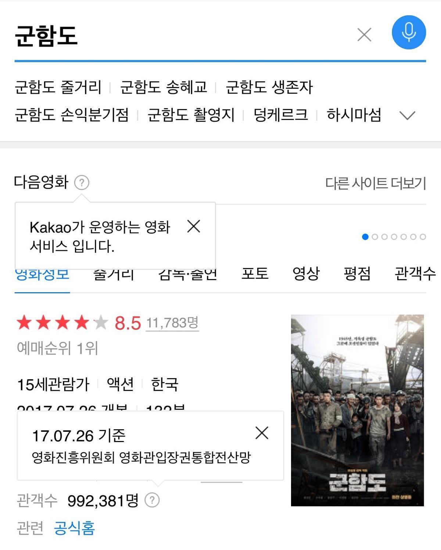 《軍艦島》在南韓首日放映次數達10,174次,觀影人次占當日所有電影的71.4%,隨著票房開紅盤,媒體看好可陸續打破多項南韓影史紀錄,台灣則將於8月18日上映。