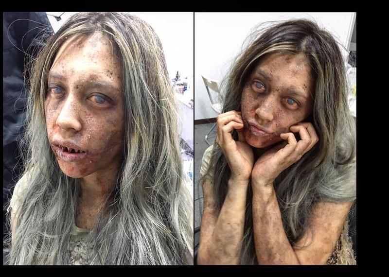 劉奕兒在臉書上貼出第一次上怪物妝的照片。