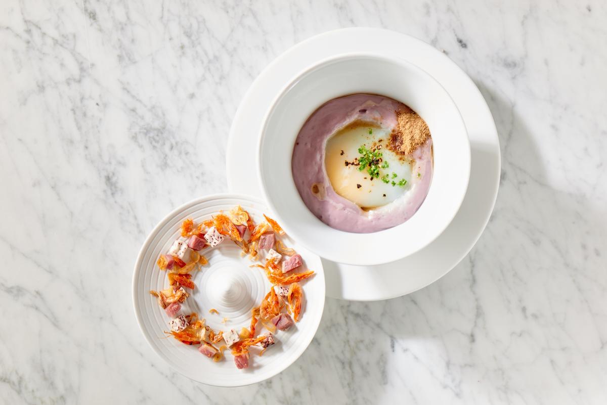 「Taïrroir態芮」餐廳週晚間套餐菜色「迷魂香芋泥鴨」。(Taïrroir態芮提供)