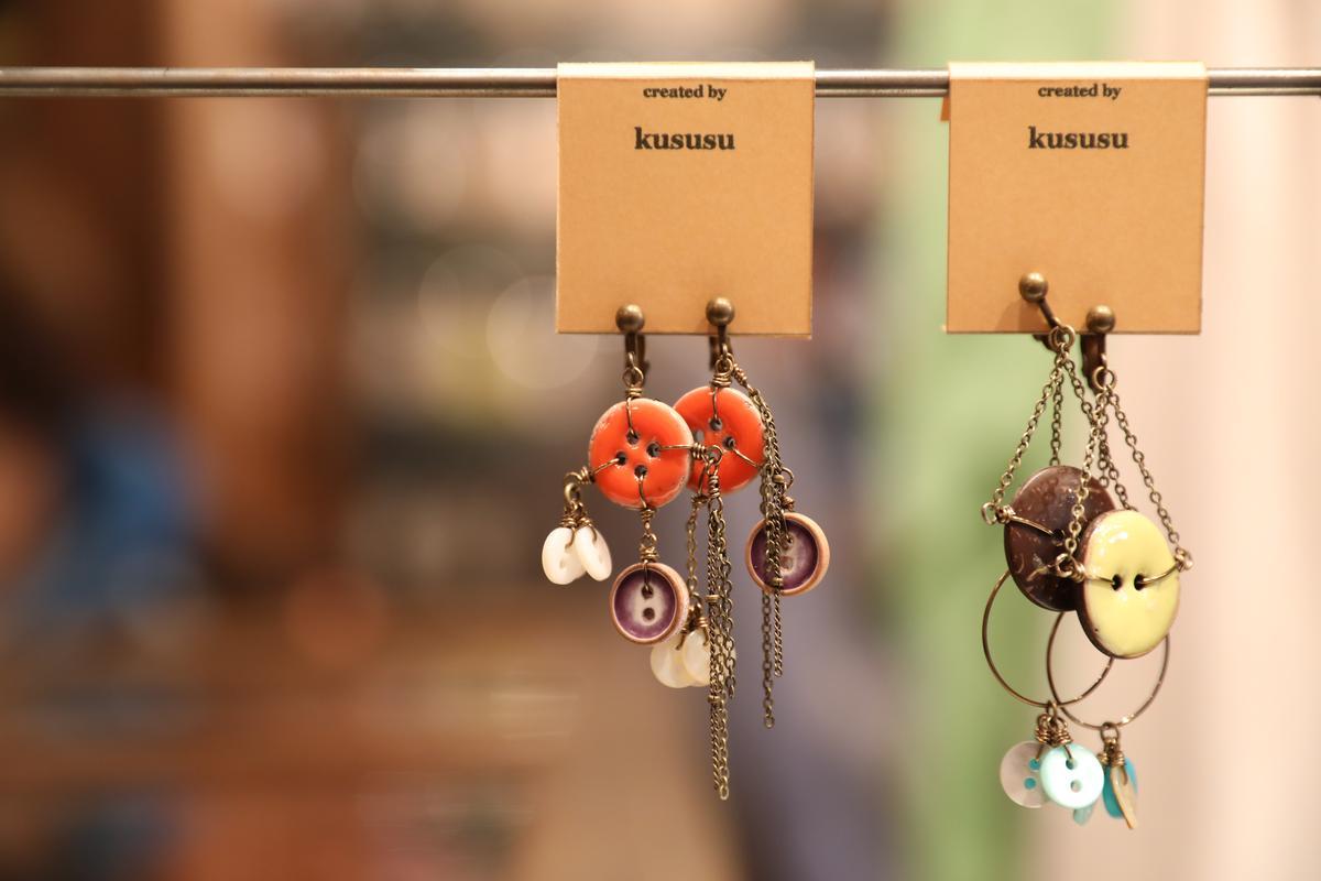 鈕扣耳環。(約2,290日圓/個,約NT$621)
