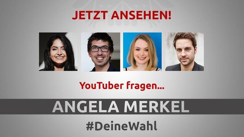 德國總理梅克爾接受 4 名年輕網紅直播訪問。(twitter@YouTubeSpaceBer)