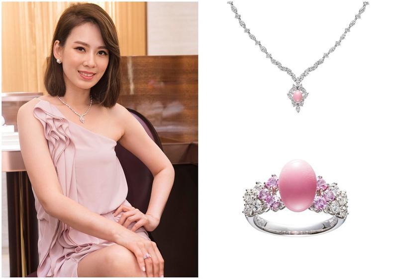 Melody全身行頭約800萬元,她說自己很喜歡粉色真珠。