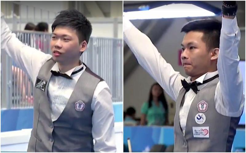 中華隊選手劉政杰(左)和許睿安(右)今日下午「內戰」爭奪撞球男單金牌。(取自Taipei 2017 Universiade世大運直播影片)