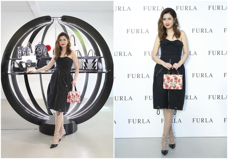 Selina穿著黑色平口洋裝,出席FURLA秋冬包款記者會。