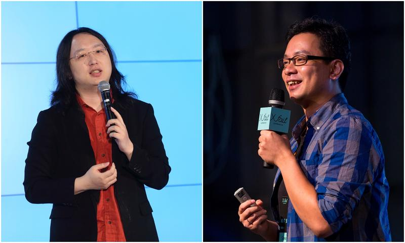 數位政委唐鳳(左)出訪臉書,遭爆料帶非官員身份的前悠遊卡董事長戴季全(右)隨行。