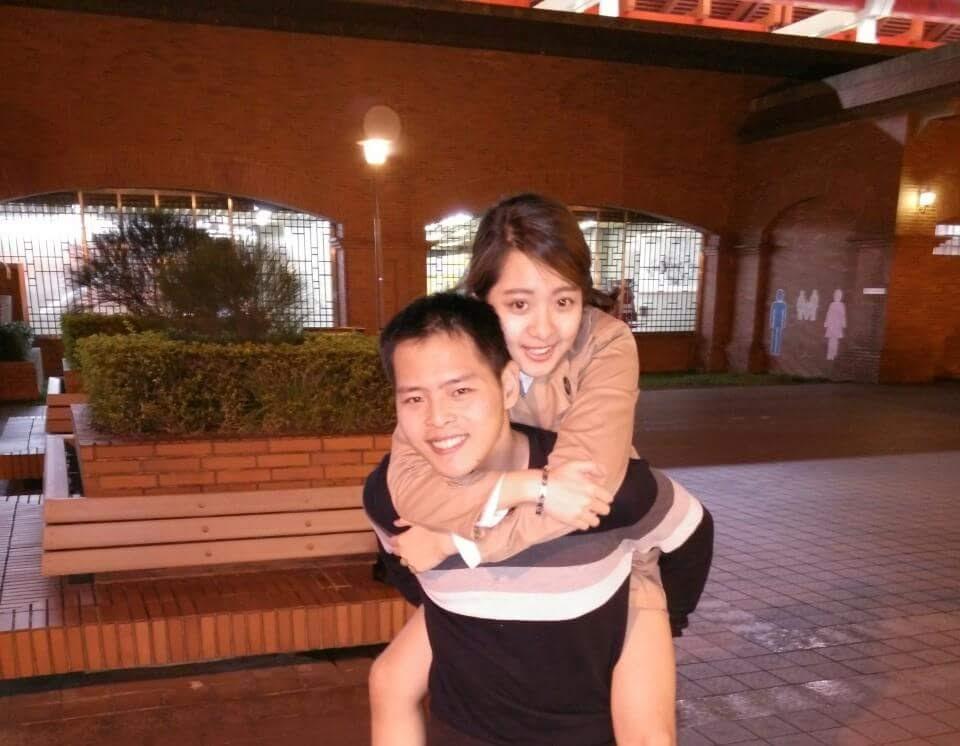 林勁勳讀高中時,認識現在的女友盧宜蓁,兩人交往3年,林低潮時,女友默默鼓勵他,成為他最大精神支柱。(林勁勳提供)