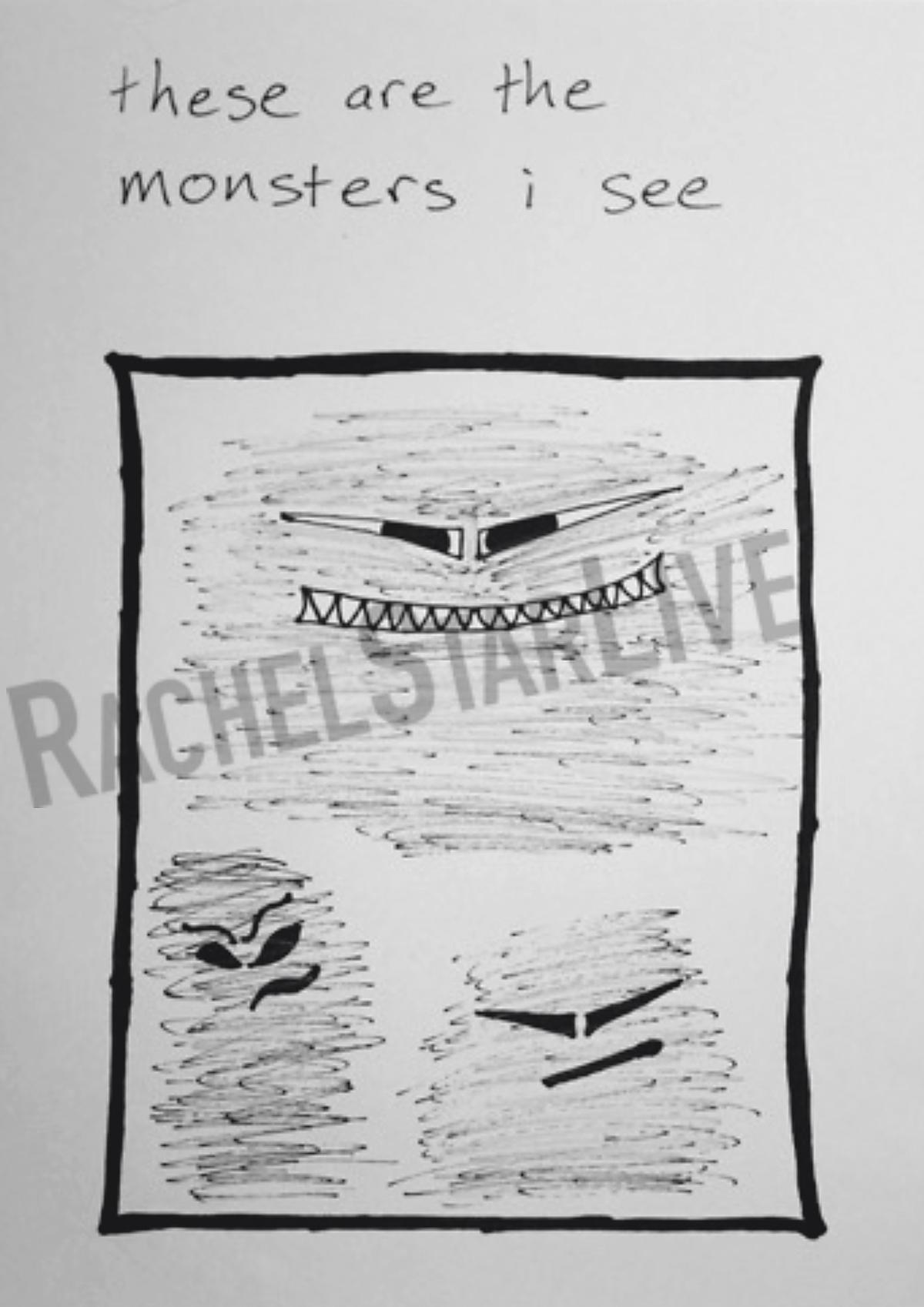 瑞秋史塔畫下她眼中的魔鬼,自製繪本向孩子們介紹何謂思覺失調。(瑞秋史塔提供)