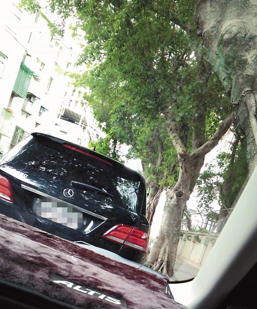 8月14日,李朝永和獅奶奶在車上, 不時身影交錯,疑似有親密互動。(讀者提供)