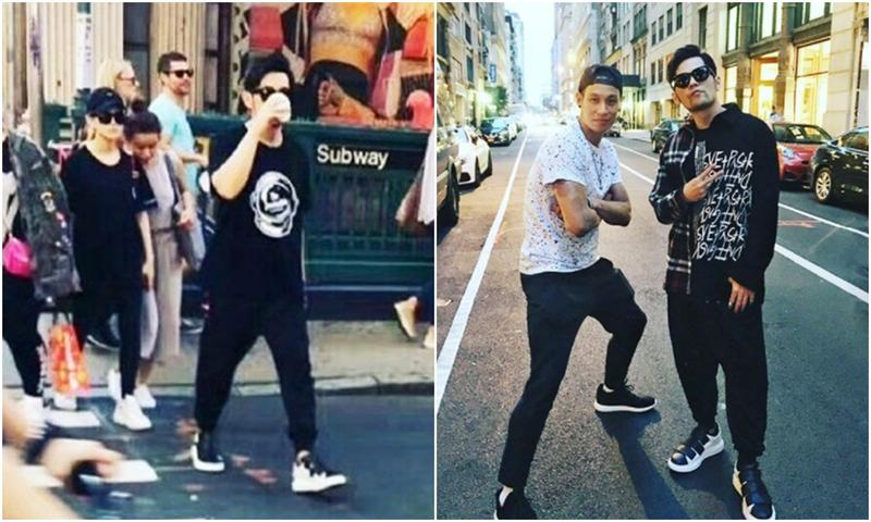 周杰倫被歌迷直擊與昆凌現身紐約,小倆口漫步街頭(圖左)。周杰倫與林書豪相約紐約,一起在街頭耍酷入鏡合照(圖右)。