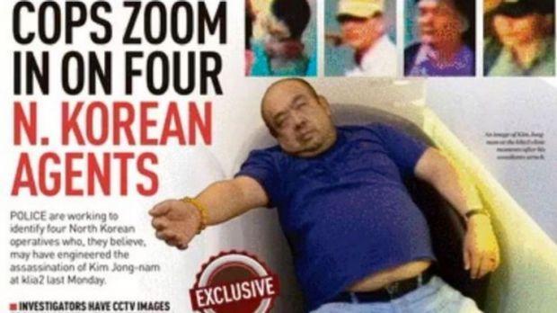 國際媒體刊出金正男遇刺後,癱坐椅子上等待急救的照片。(截取自網路)