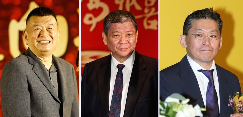 台中帝寶引發的股東糾紛交付仲裁一事,地產三巨頭鄭欽天(左起)、祝文宇、林鴻南都強調彼此沒有翻臉。