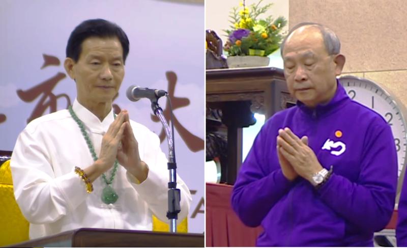 長庚榮譽副院長宋永魁(右)是妙禪(左)的忠實信徒,日前也幫Seafood安排插隊看病。(翻攝Youtube)